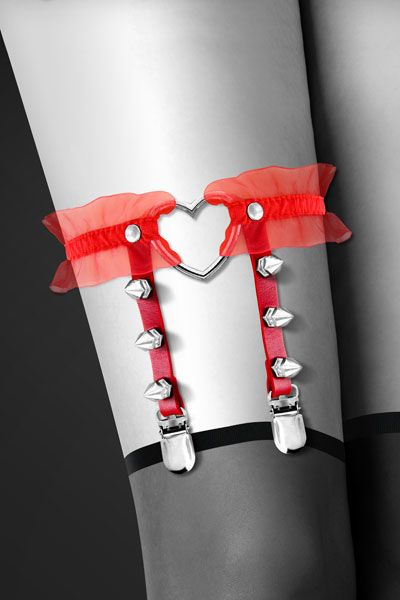 Гартер Bijoux Pour Toi – WITH HEART AND SPIKES Red