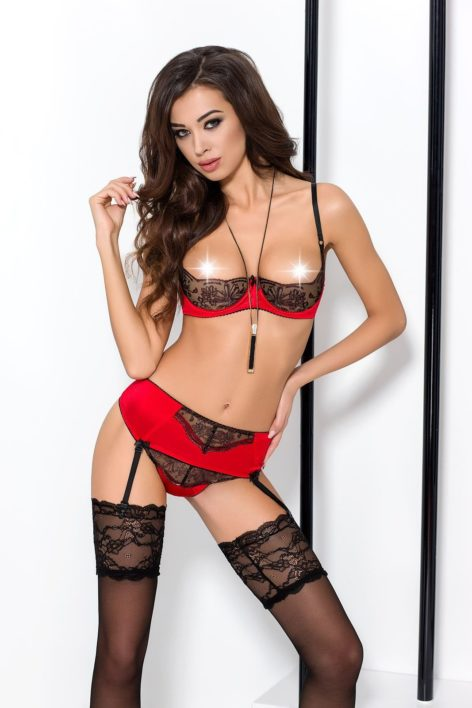 BRIDA SET WITH OPEN BRA red L/XL – Passion